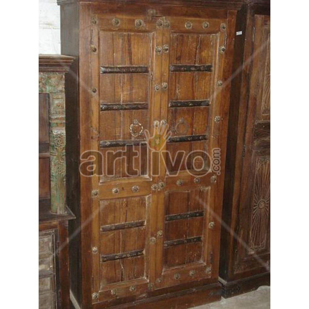 Restored Brown Extravagant Solid Wooden Teak Almirah