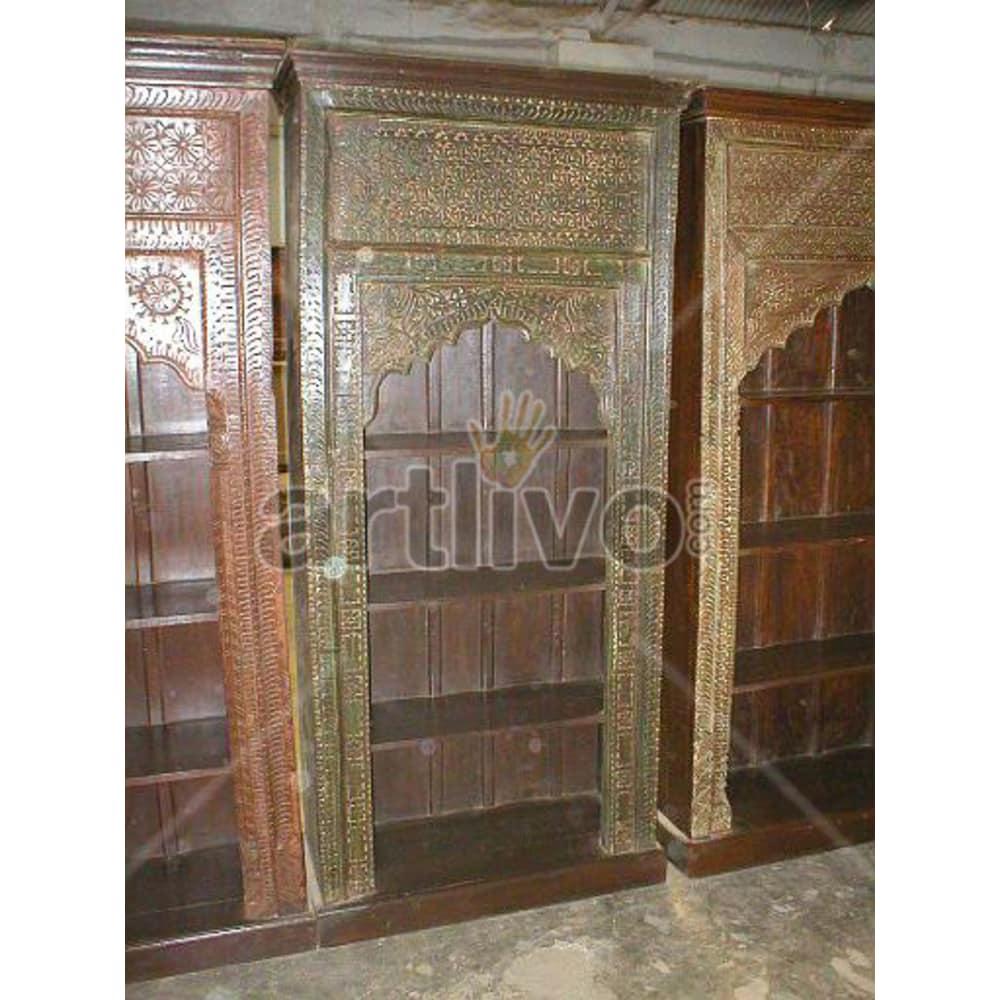 Vintage Indian Chiselled Stately Solid Wooden Teak Bookshelf
