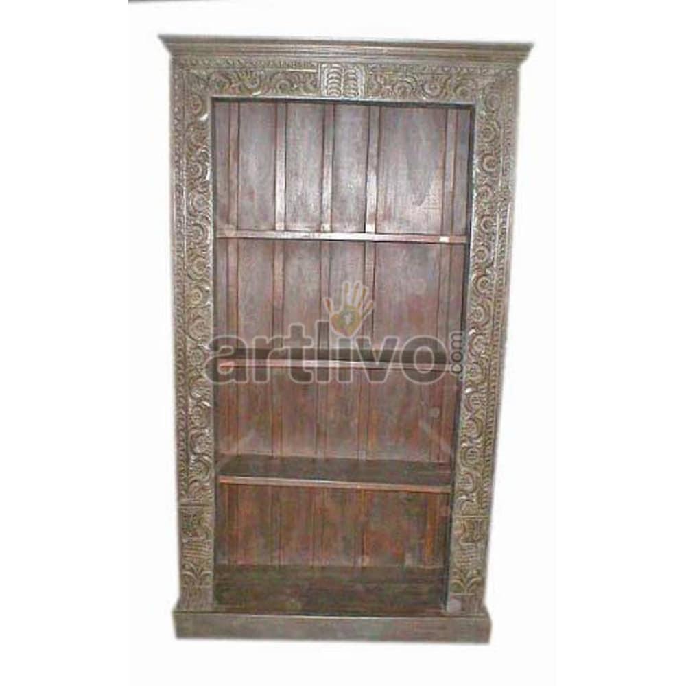 Vintage Indian Sculpted Opulent Solid Wooden Teak Bookshelf