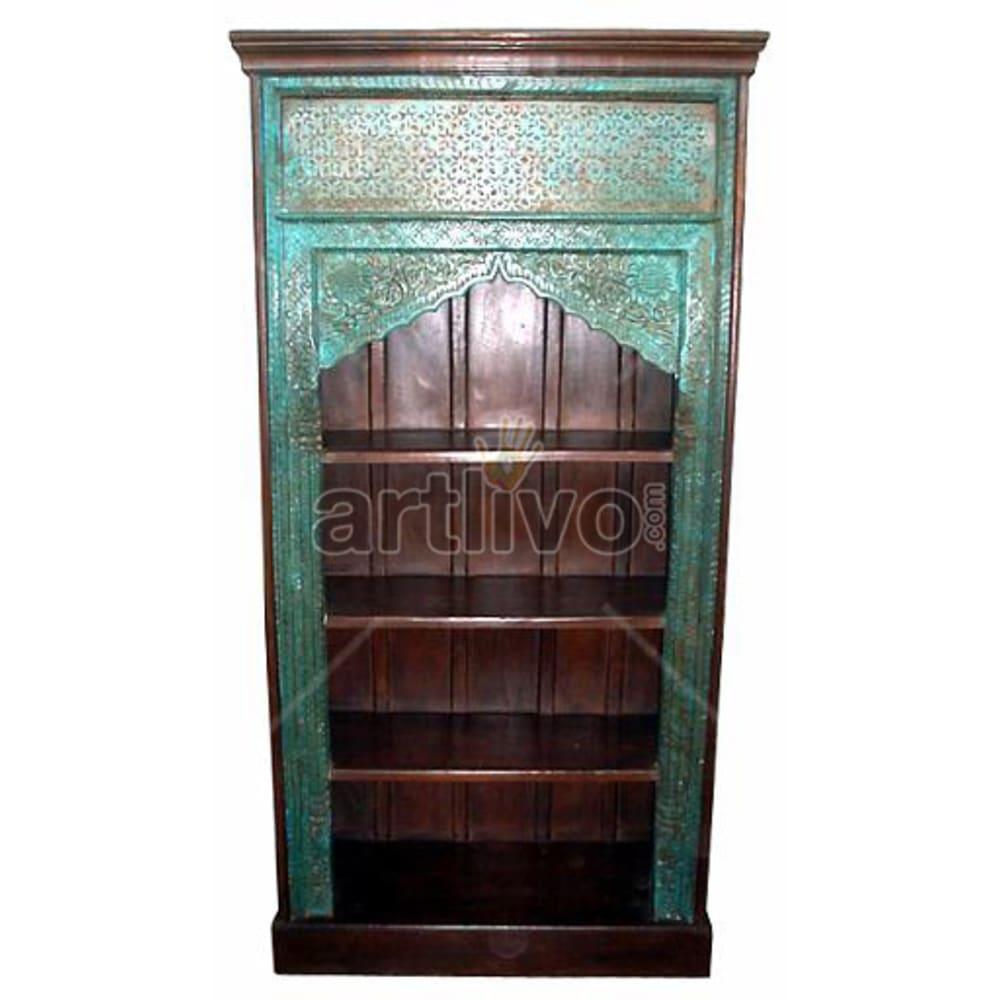 Vintage Indian Sculptured Unique Solid Wooden Teak Bookshelf
