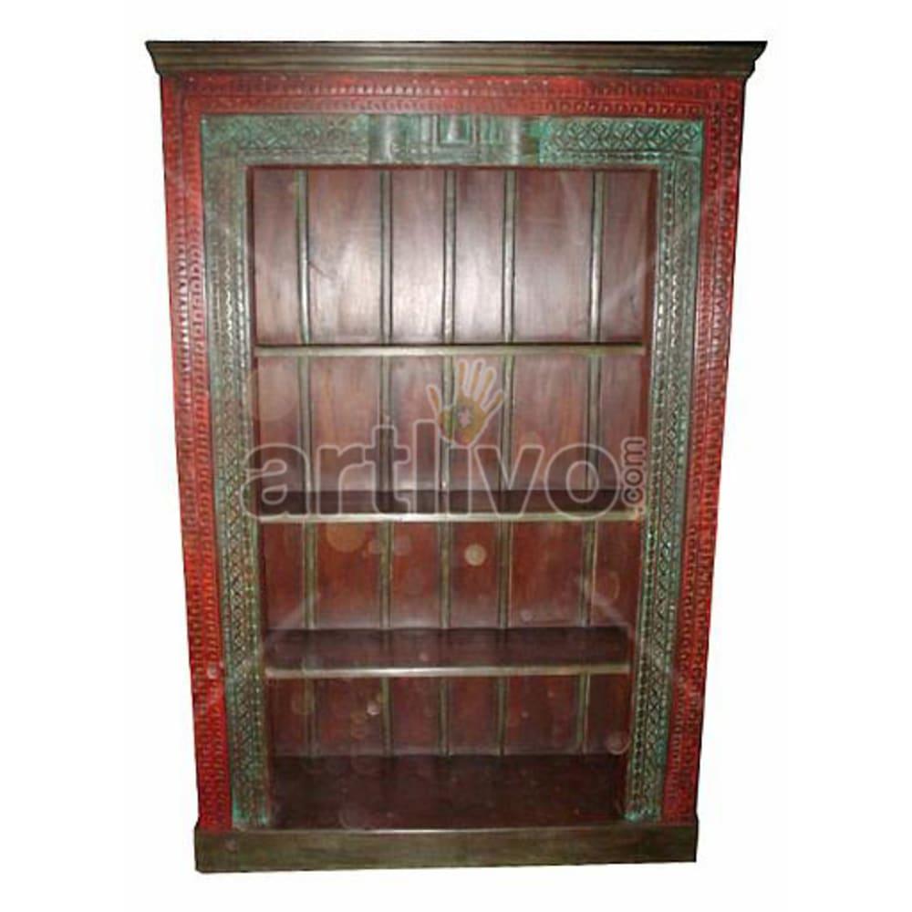 Vintage Indian Sculptured Plush Solid Wooden Teak Bookshelf