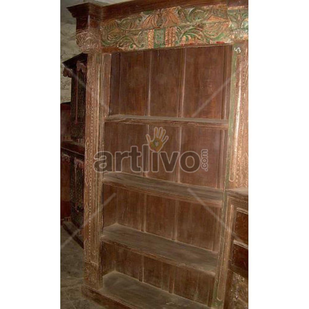Vintage Indian Beautiful Splendid Solid Wooden Teak Bookshelf