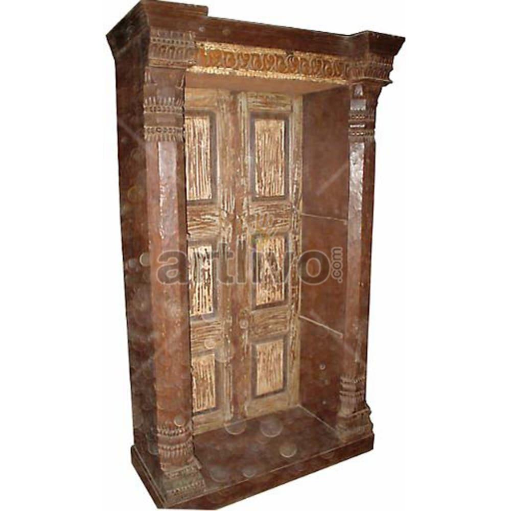 Antique Indian Carved Rich Solid Wooden Teak Bookshelf