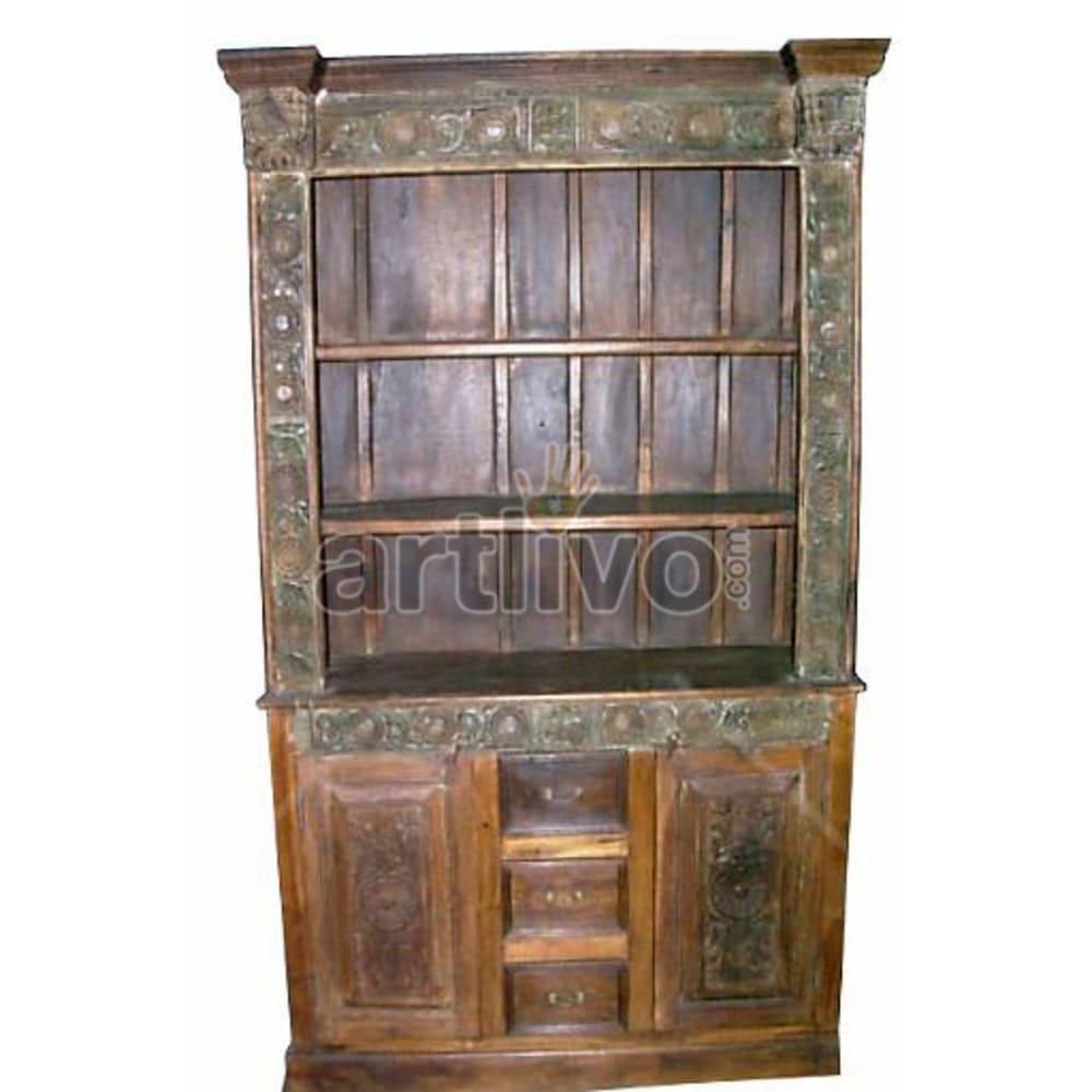 Antique Indian Carved Aristocratic Solid Wooden Teak Bookshelf