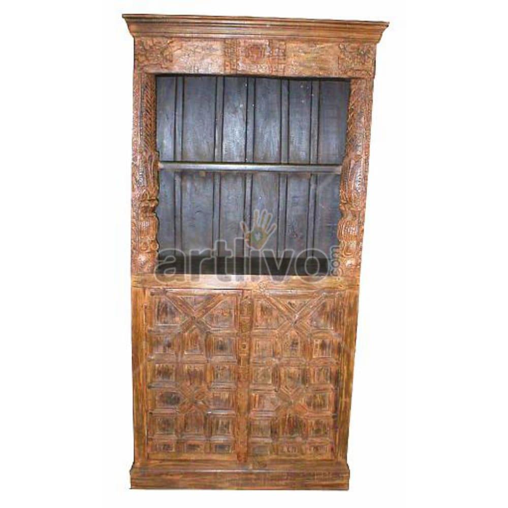 Antique Indian Brown Rich Solid Wooden Teak Bookshelf