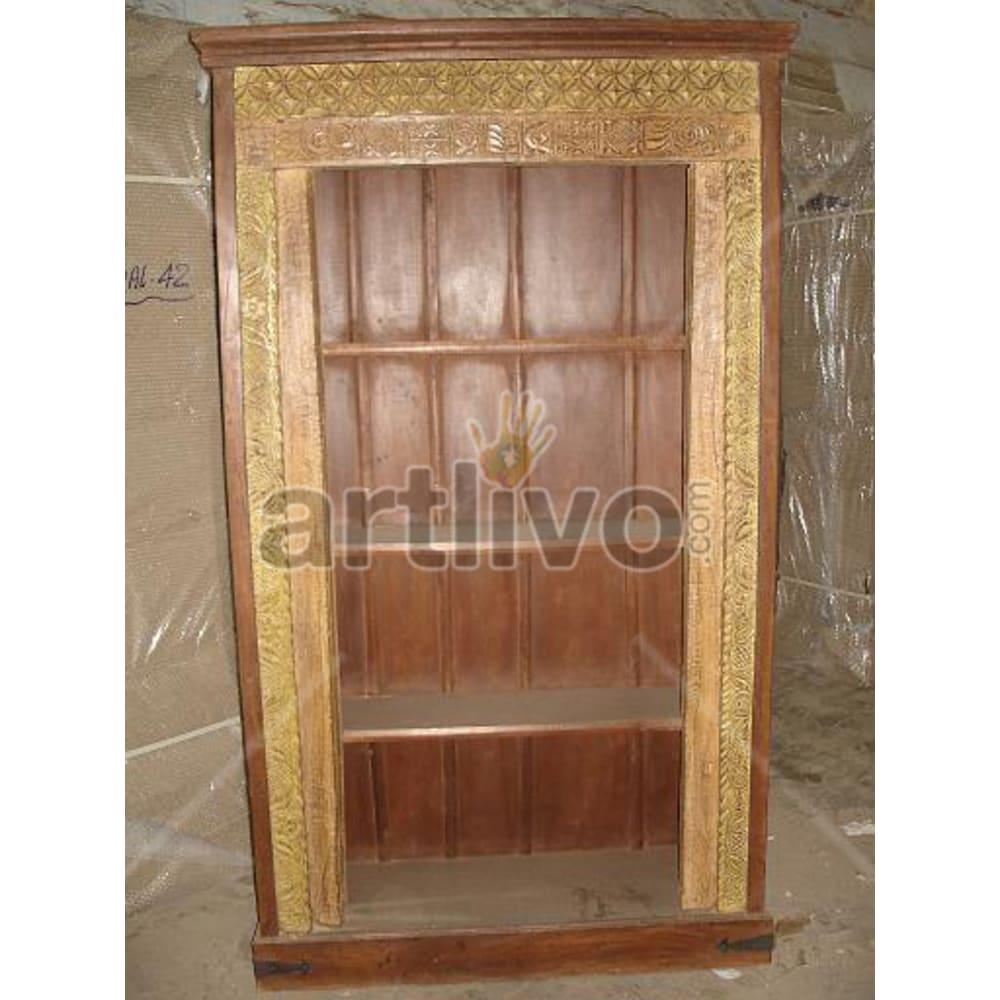 Antique Indian Brown Imperial Solid Wooden Teak Bookshelf