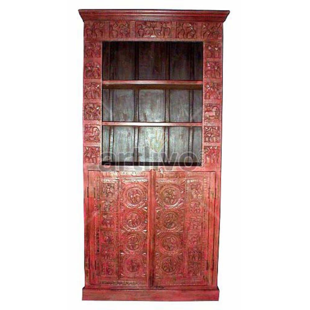 Antique Indian Brown Stately Solid Wooden Teak Bookshelf