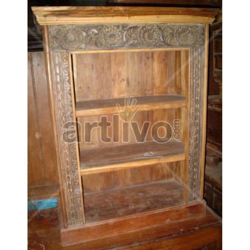 Antique Indian Chiselled Splendid Solid Wooden Teak Bookshelf