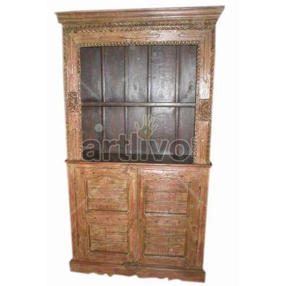 Antique Indian Engraved Superb Solid Wooden Teak Bookshelf
