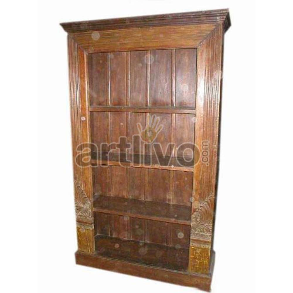 Antique Indian Sculpted Unique Solid Wooden Teak Bookshelf