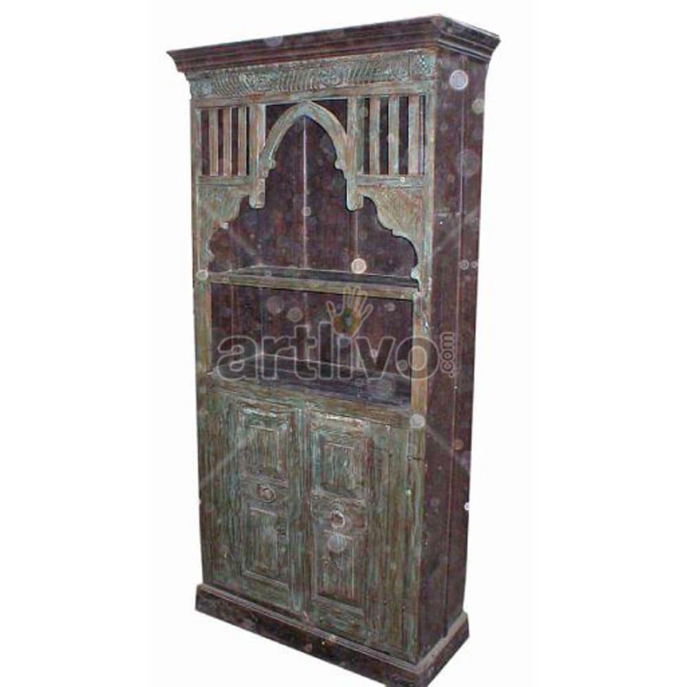 Antique Indian Sculpted Stately Solid Wooden Teak Bookshelf