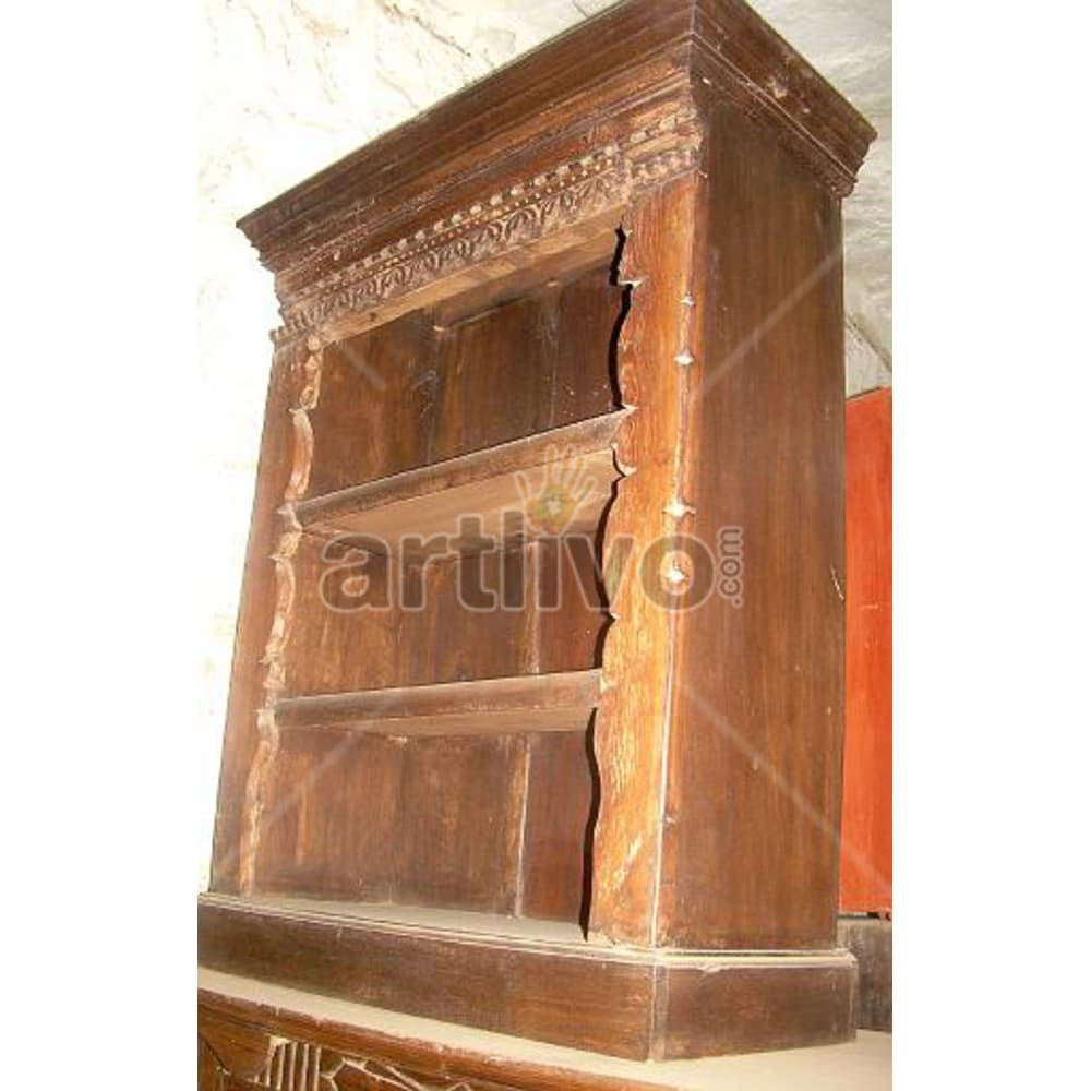 Antique Indian Sculptured Royal Solid Wooden Teak Bookshelf