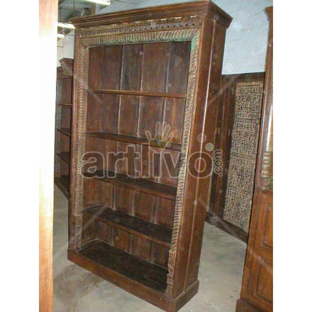Antique Indian Beautiful Imperial Solid Wooden Teak Bookshelf