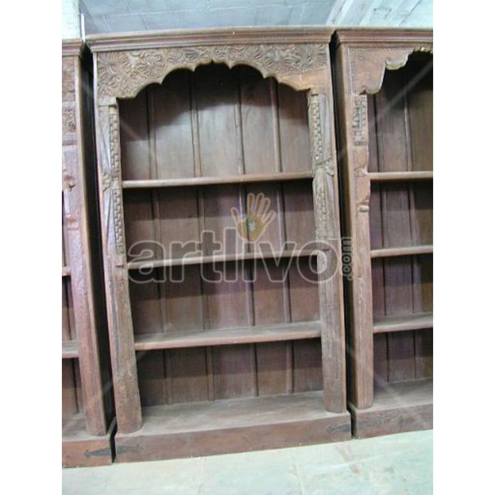 Old Indian Carved Unique Solid Wooden Teak Bookshelf