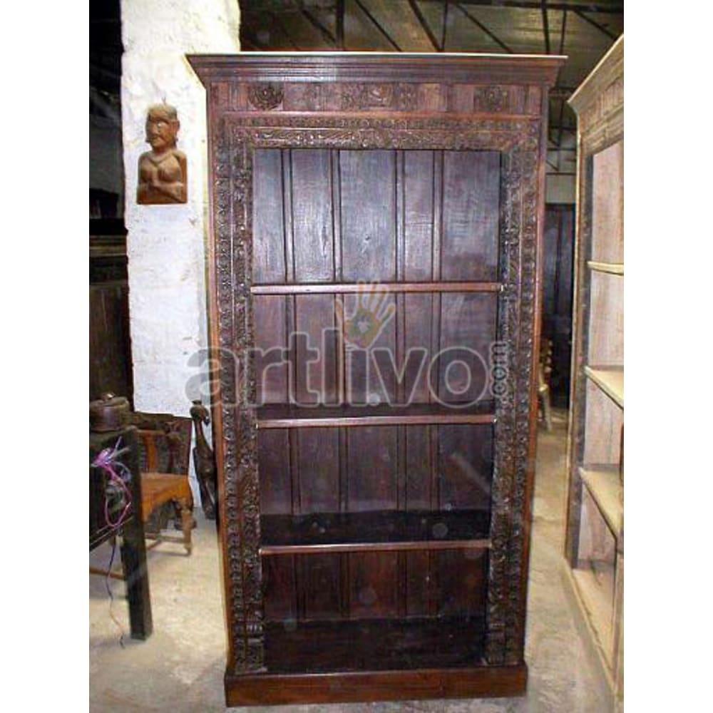 Old Indian Brown Marvellous Solid Wooden Teak Bookshelf