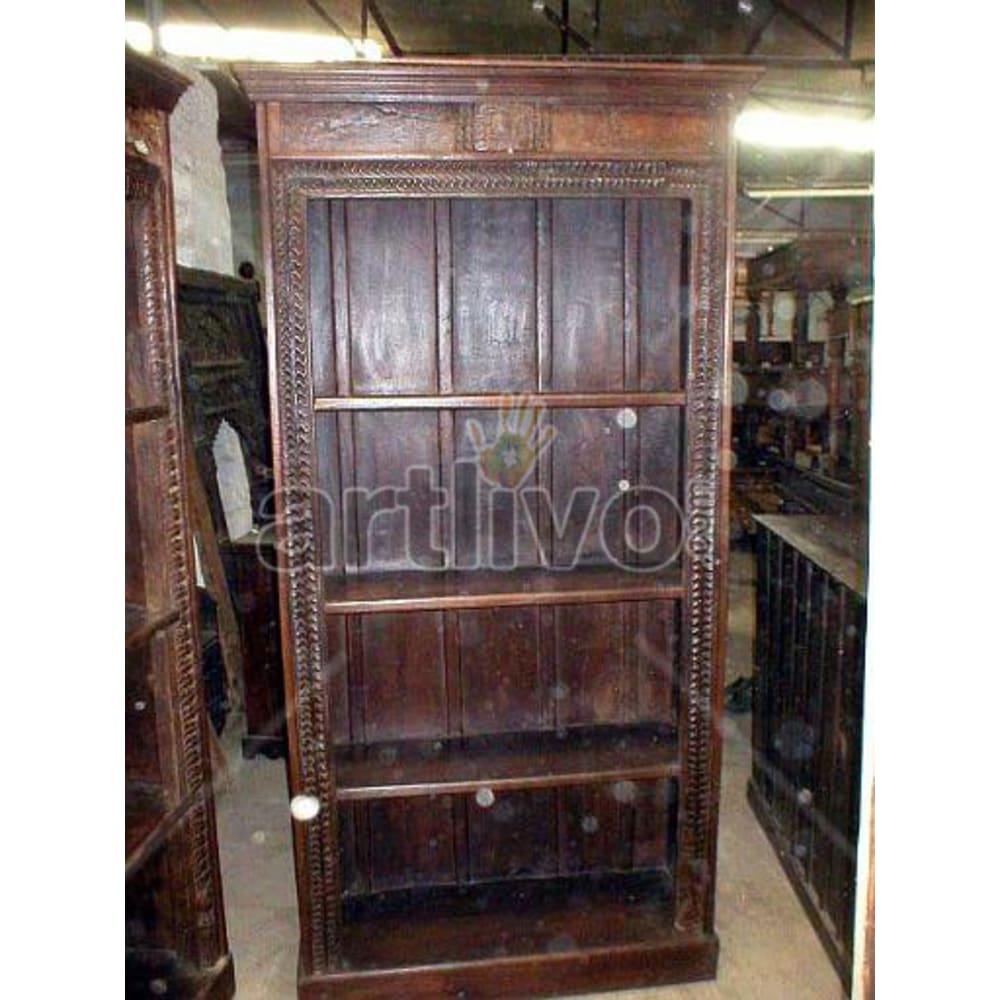 Old Indian Chiselled Rich Solid Wooden Teak Bookshelf