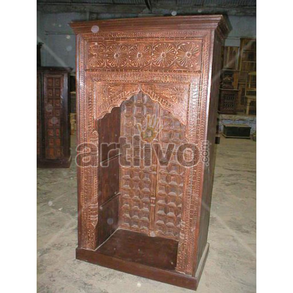 Old Indian Chiselled Imperial Solid Wooden Teak Bookshelf