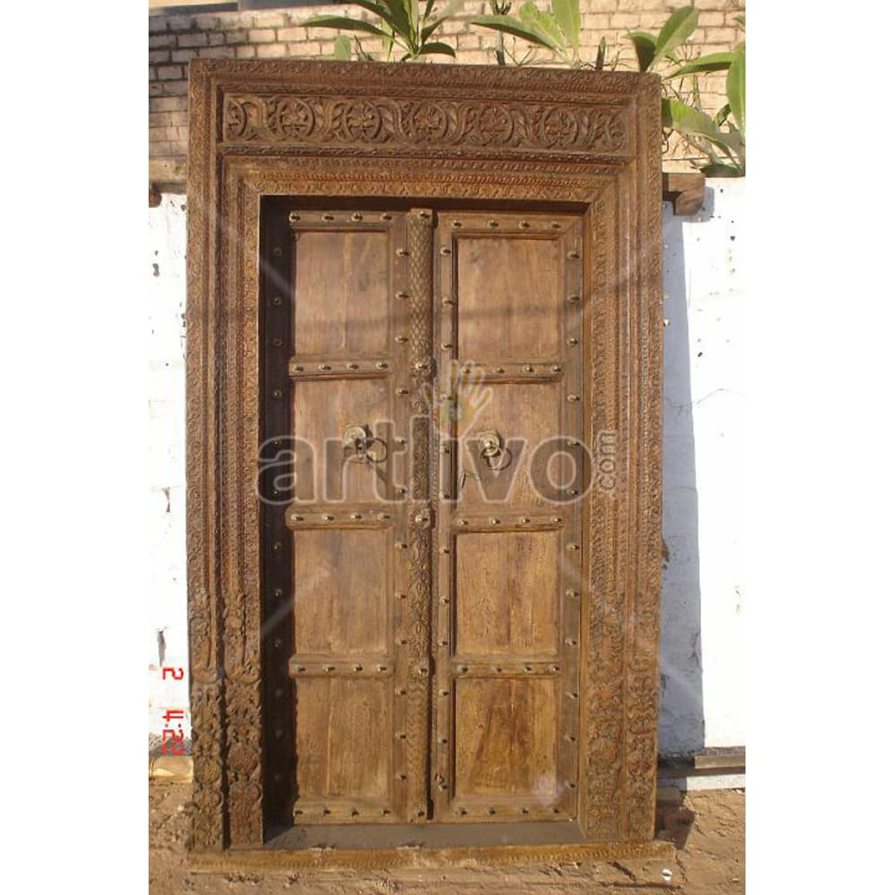 Vintage Indian Carved Unique Solid Wooden Teak Door