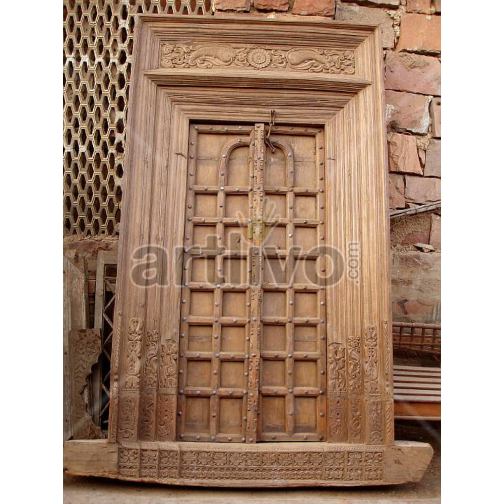 Vintage Indian Carved Royal Solid Wooden Teak Door