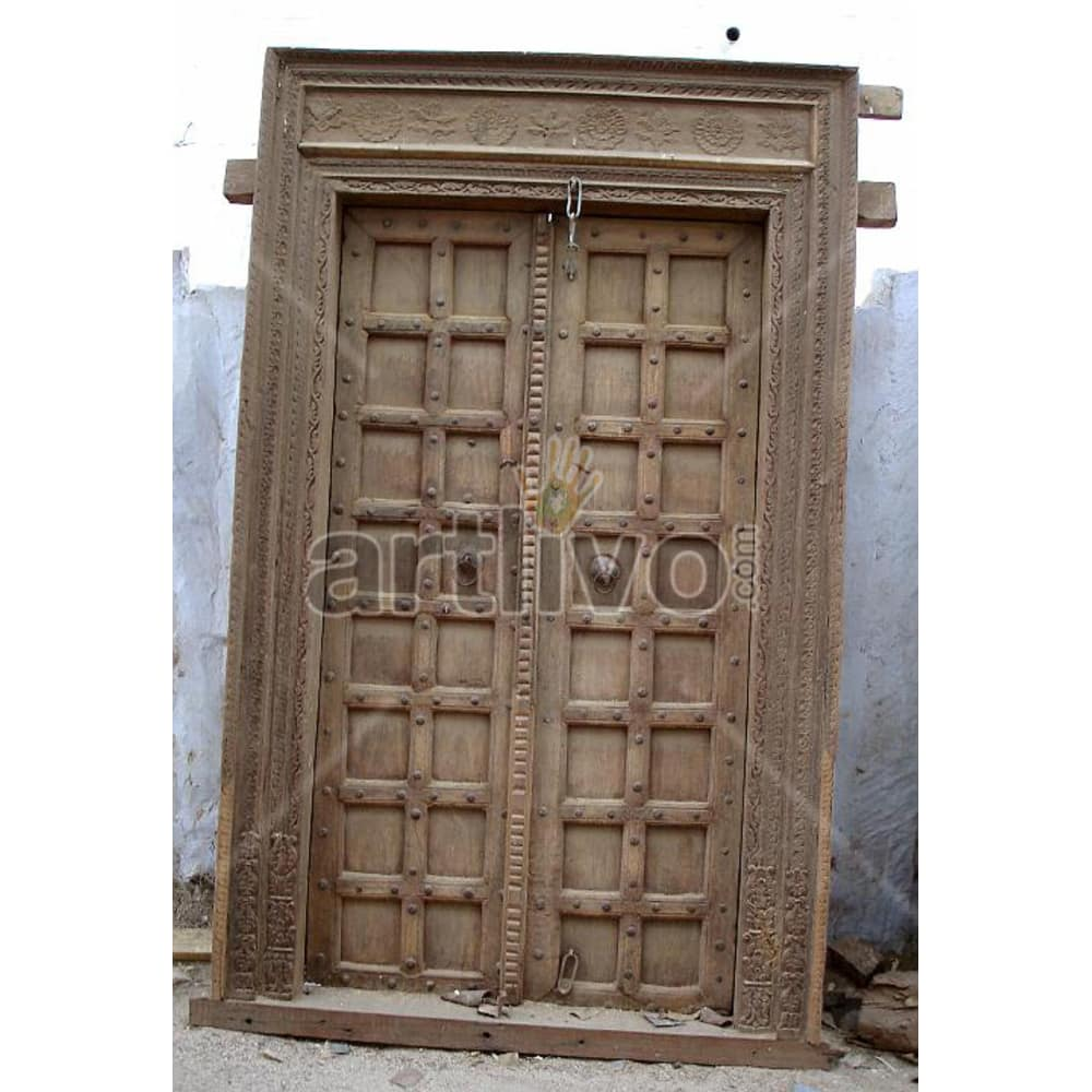 Vintage Indian Carved Splendid Solid Wooden Teak Door