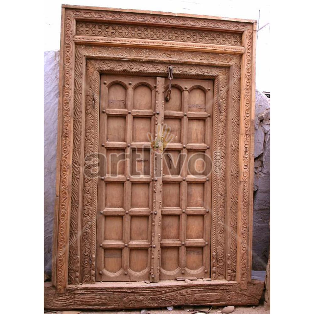 Vintage Indian Carved Superb Solid Wooden Teak Door