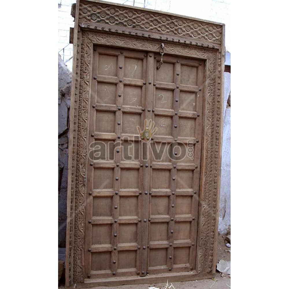 Vintage Indian Carved Marvellous Solid Wooden Teak Door