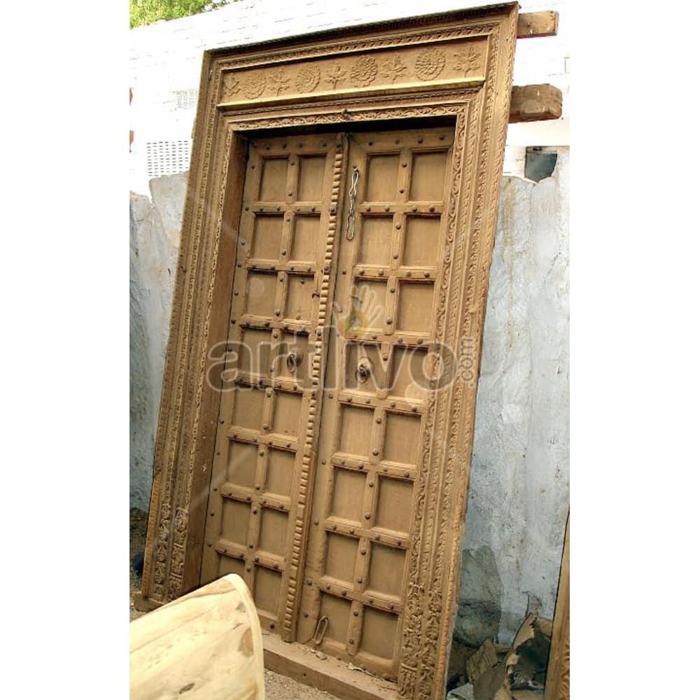 Vintage Indian Brown Unique Solid Wooden Teak Door