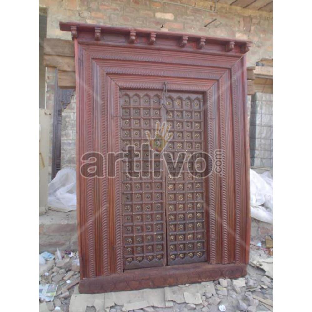 Vintage Indian Chiselled Palatial Solid Wooden Teak Door