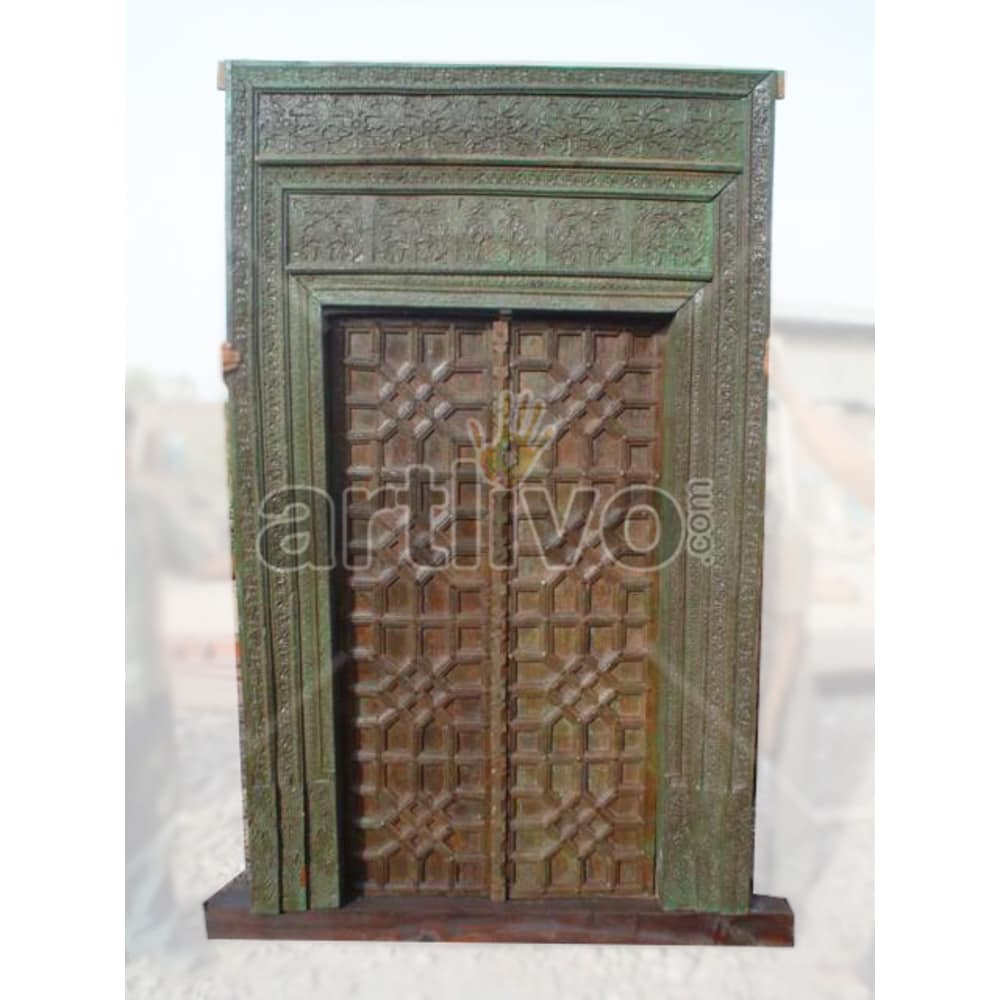 Vintage Indian Chiselled Imperial Solid Wooden Teak Door