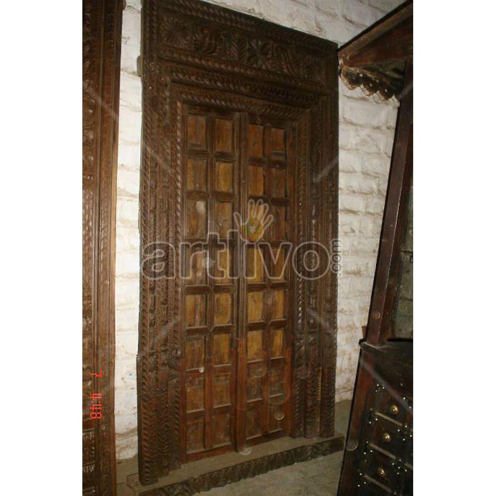 Vintage Indian Sculpted Lavish Solid Wooden Teak Door