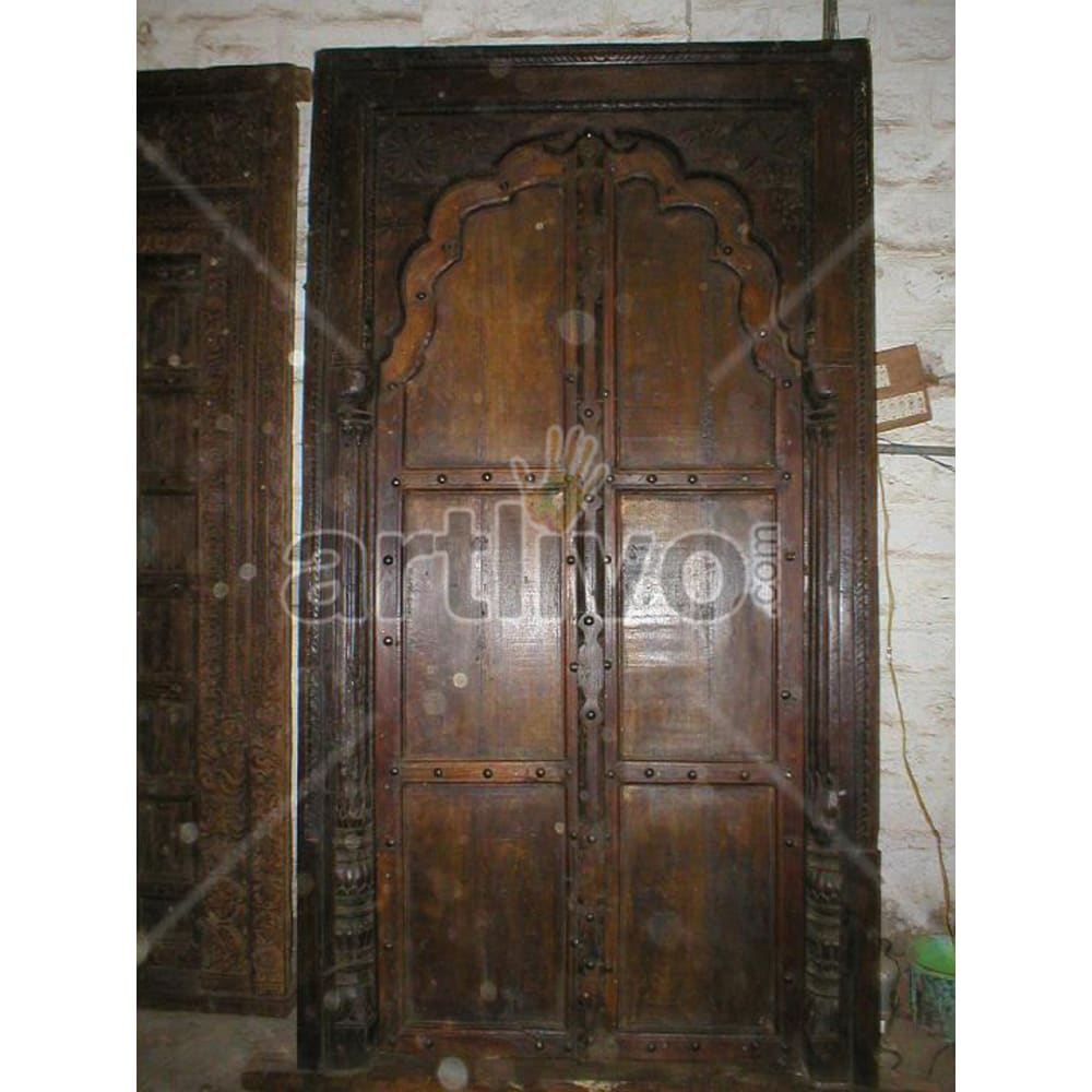 Vintage Indian Sculptured Illustrious Solid Wooden Teak Door