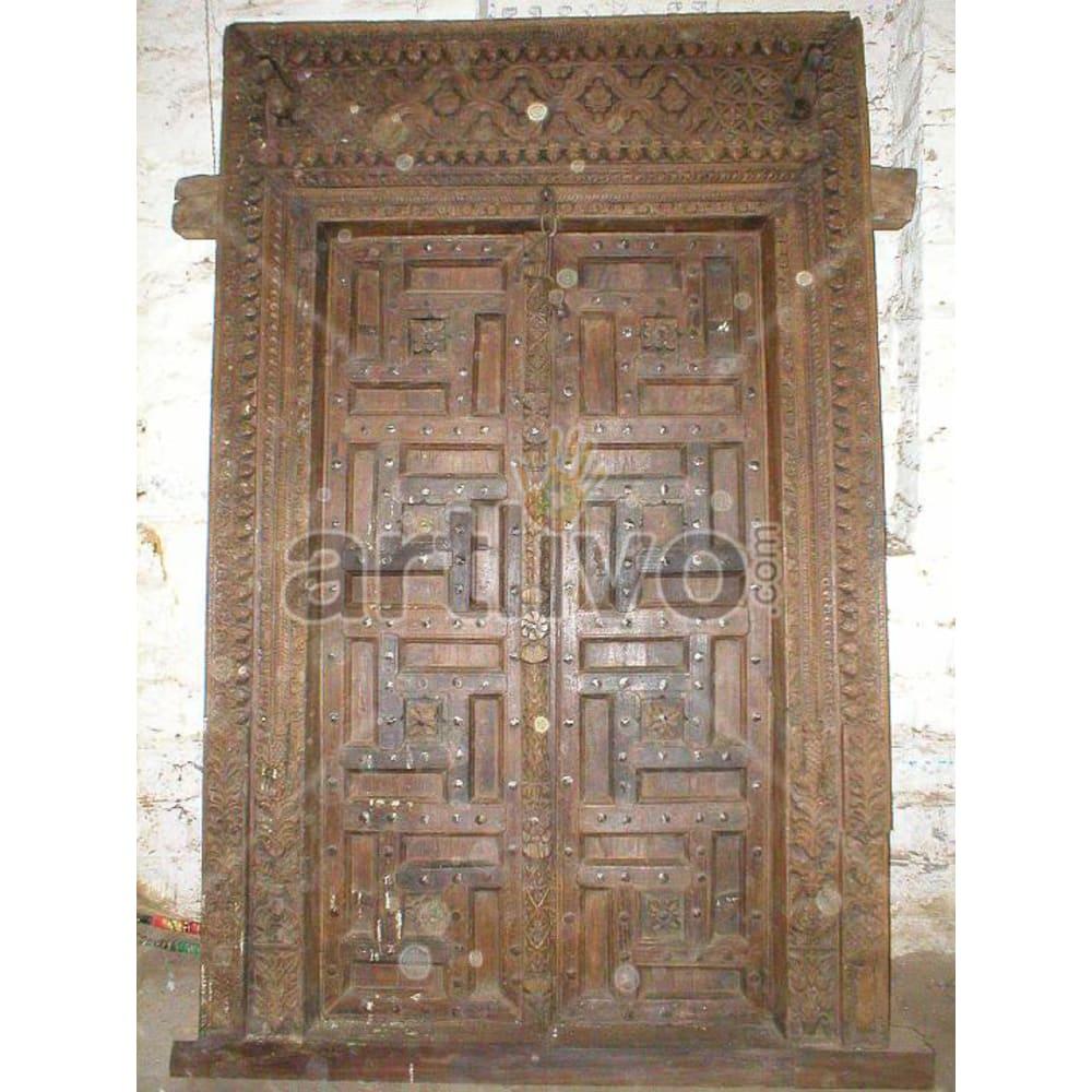 Vintage Indian Sculptured Magnificent Solid Wooden Teak Door