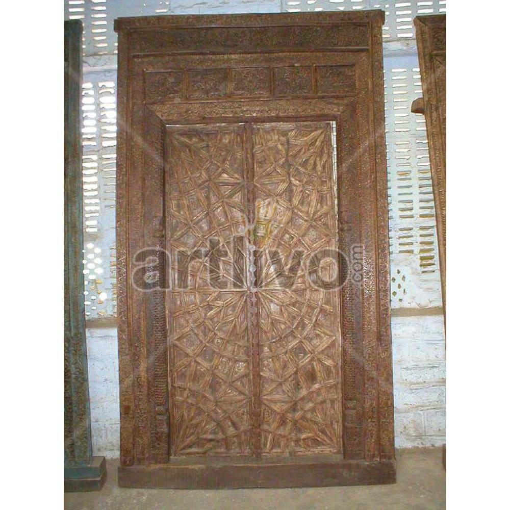Vintage Indian Sculptured Noble Solid Wooden Teak Door