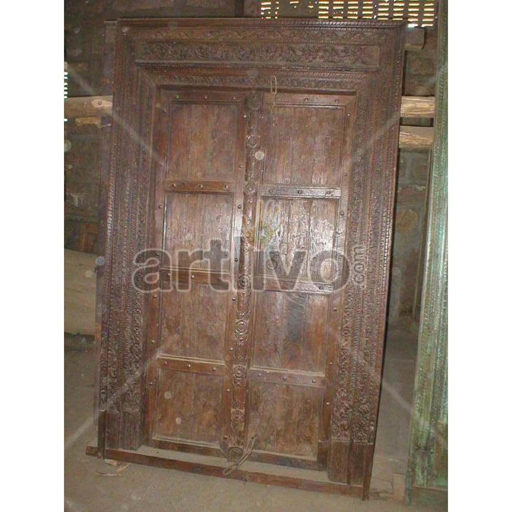 Vintage Indian Beautiful Lavish Solid Wooden Teak Door