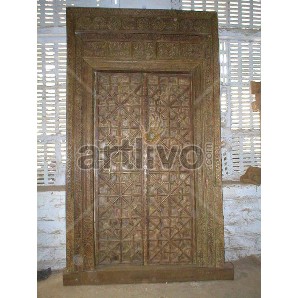 Antique Indian Carved Aristocratic Solid Wooden Teak Door