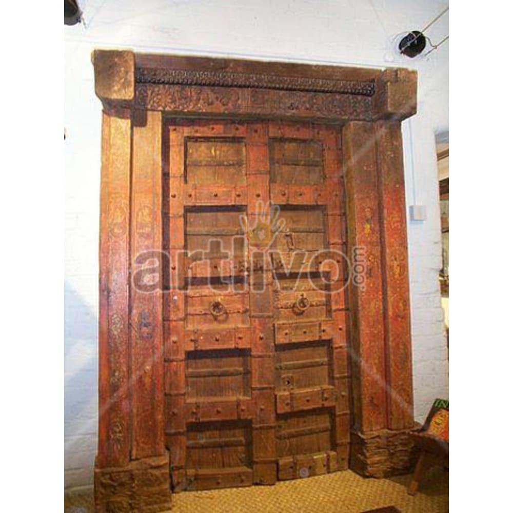 Antique Indian Carved Supreme Solid Wooden Teak Door