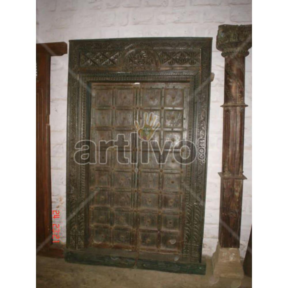 Antique Indian Brown Royal Solid Wooden Teak Door