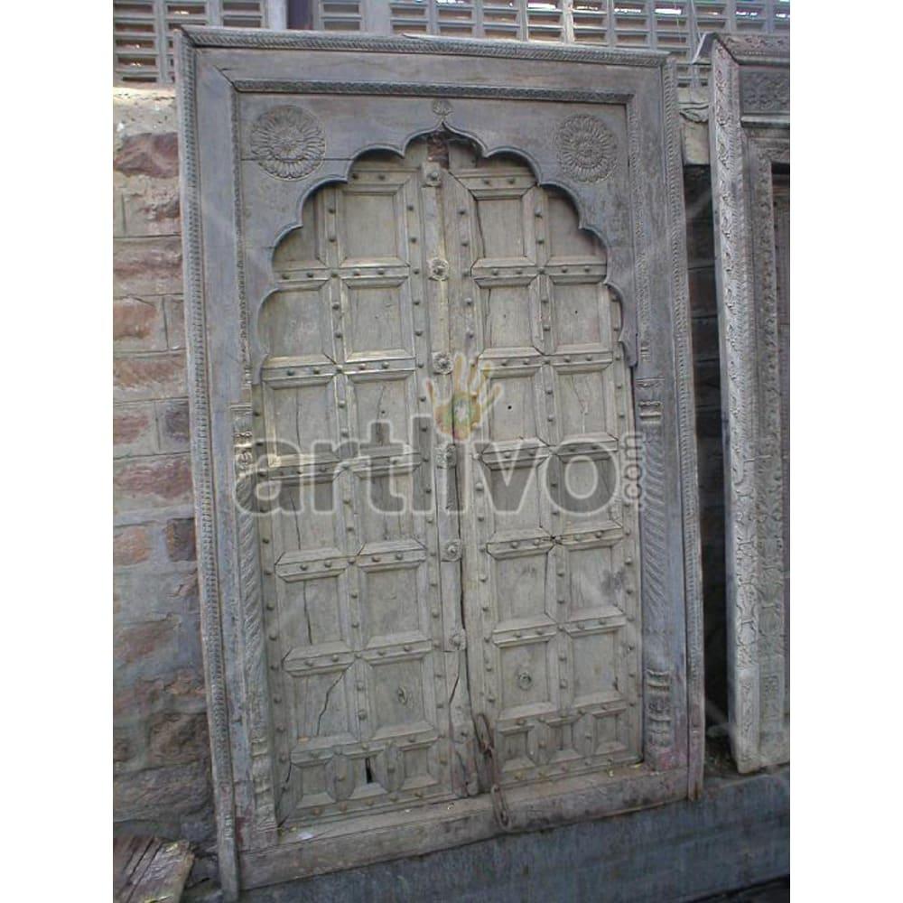 Antique Indian Chiselled Illustrious Solid Wooden Teak Door