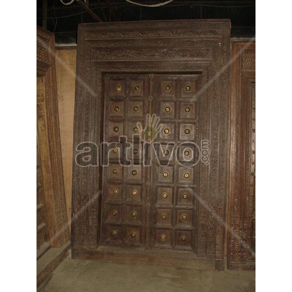 Antique Indian Chiselled Noble Solid Wooden Teak Door