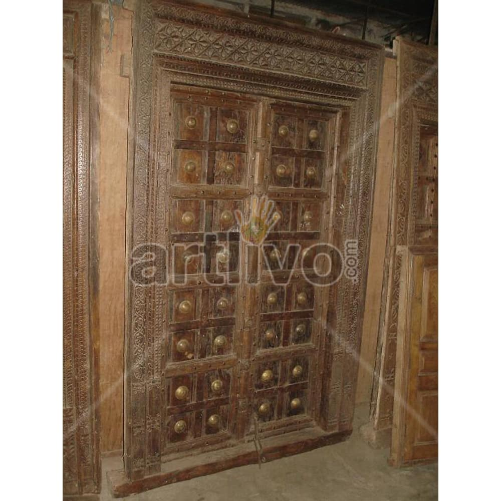 Antique Indian Chiselled Splendid Solid Wooden Teak Door