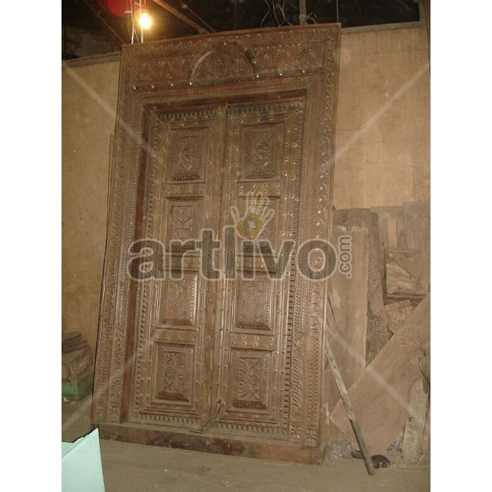 Antique Indian Engraved Lavish Solid Wooden Teak Door