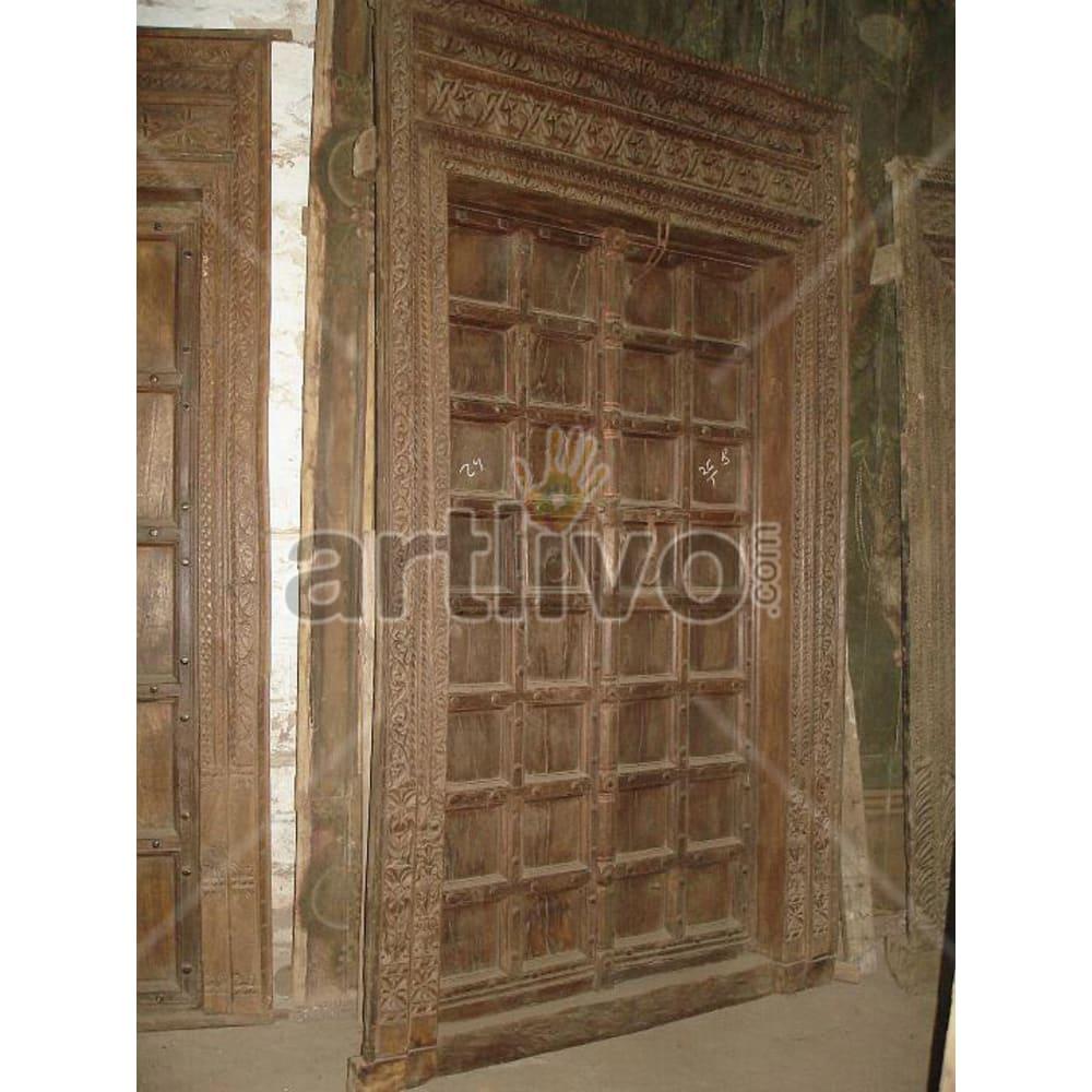 Antique Indian Engraved Stately Solid Wooden Teak Door