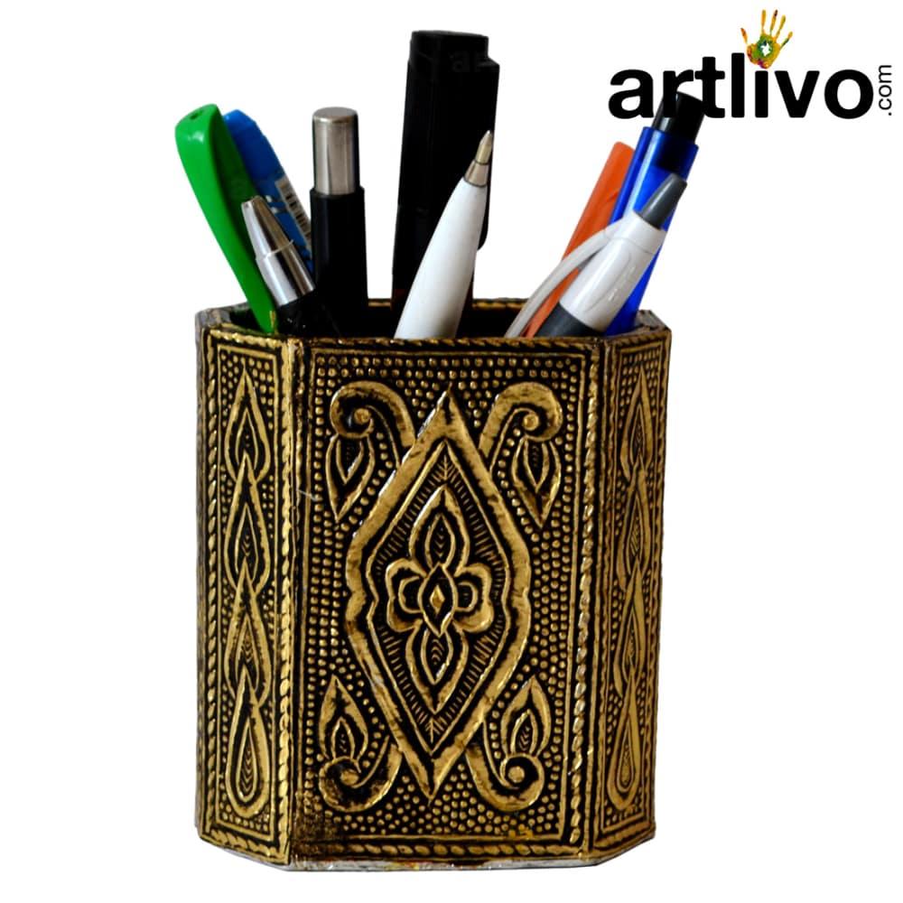 UBER ELEGANT Golden antique Pen Holder