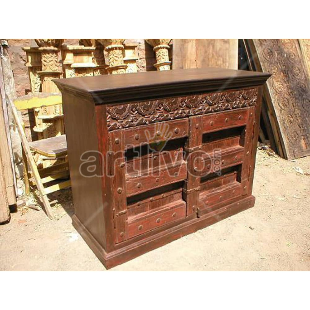 Vintage Indian Carved Deluxe Solid Wooden Teak Sideboard with colourful Drawer Design