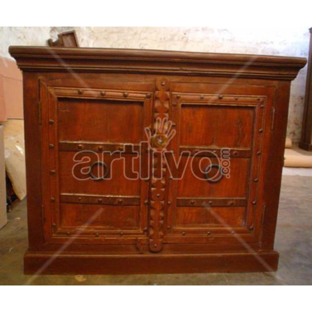 Vintage Indian Carved illustrious Solid Wooden Teak Sideboard with 2 door and metal knob