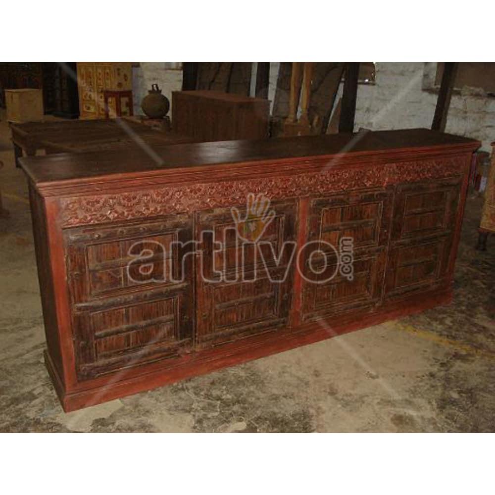 Vintage Indian Brown Deluxe Solid Wooden Teak Sideboard with 4 door