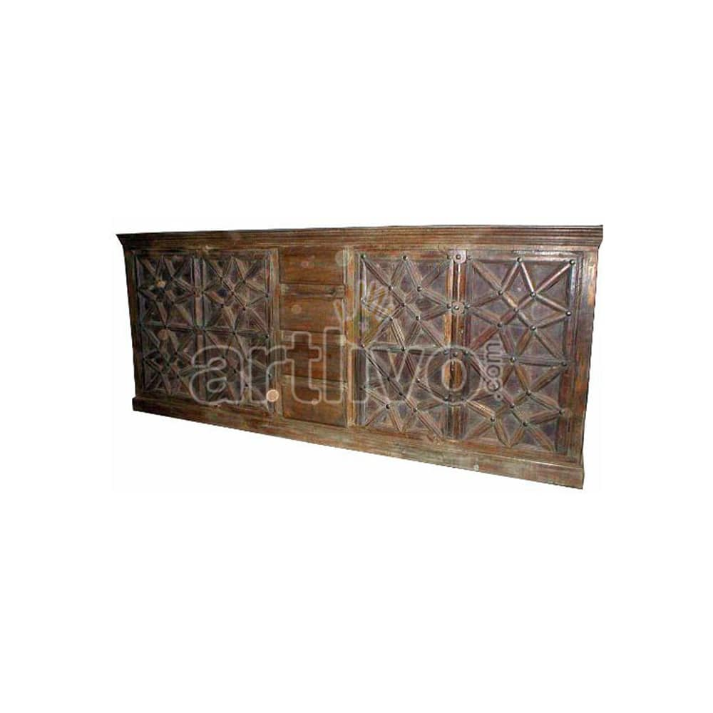 Vintage Indian Brown Royal Solid Wooden Teak Sideboard with 4 drawer in middle and 4 star designed door