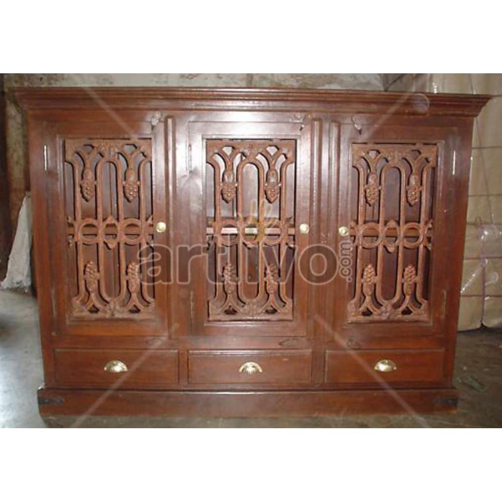 Vintage Indian Chiselled Lavish Solid Wooden Teak Sideboard with 3 door & 3 Drawer