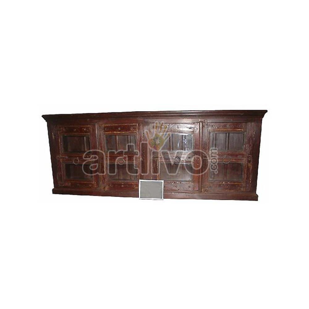 Vintage Indian Chiselled Royal Solid Wooden Teak Sideboard with 4 door