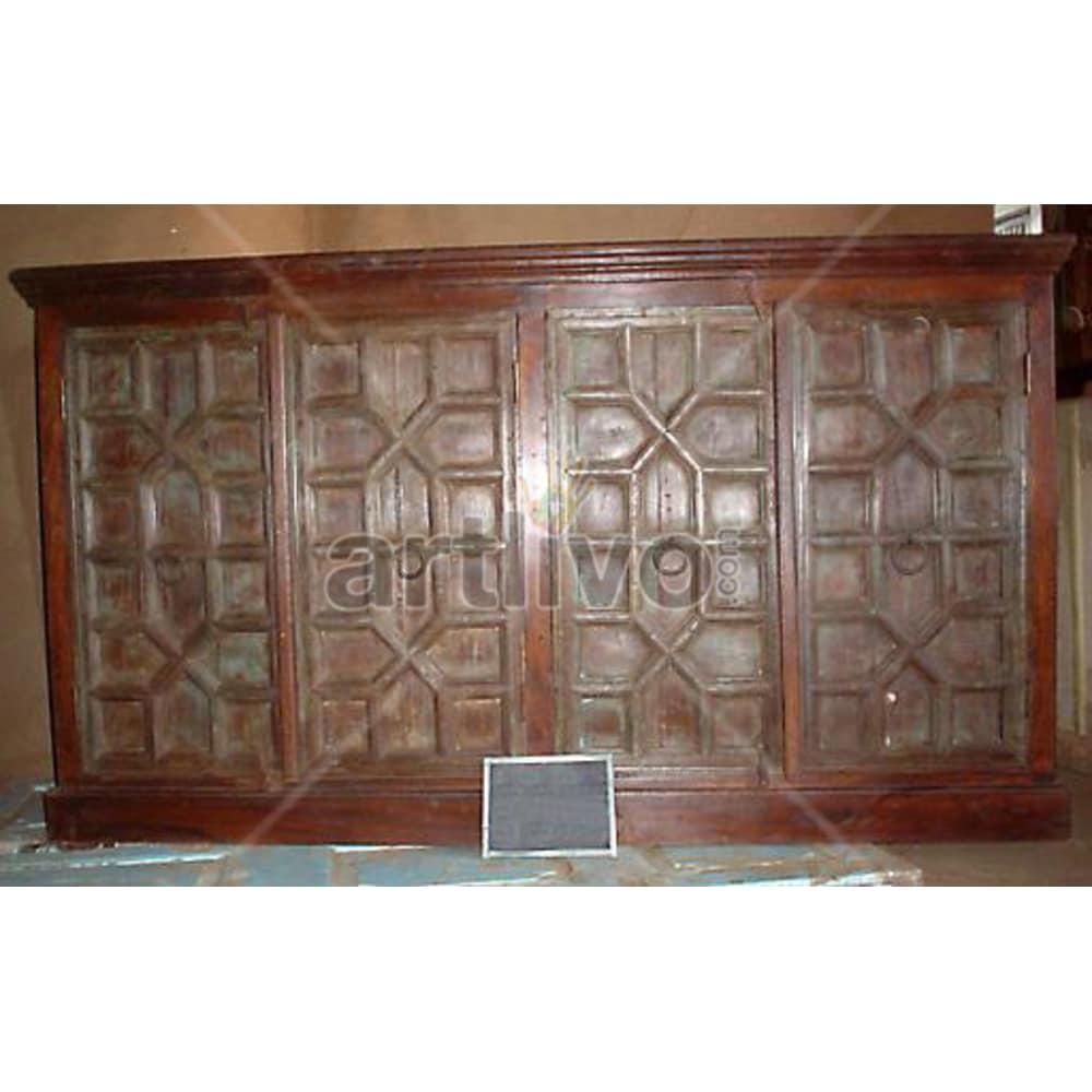 Vintage Indian Chiselled Supreme Solid Wooden Teak Sideboard with 4 door & wooden knob